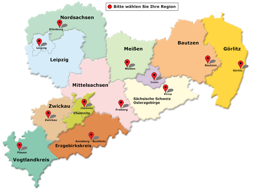 sachsen karte Jugendweihe Regionalbüros in Sachsen   Sächsischer Verband für